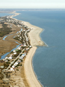 Ariel view of Broadkill Beach with houses