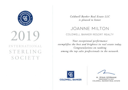 Joanne Milton Coldwell Banker Sterling Award