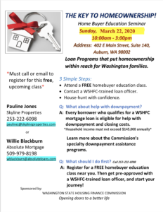 Pauline Clarke Jones Kent Wa Real Estate March Homebuyer Class
